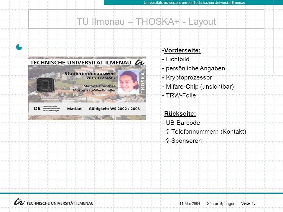 Universitätsrechenzentrum der Technischen Universität Ilmenau 11.Mai 2004Günter Springer Seite 19 THOSKA+ – Einsatz Kryptochip Authentisierung im Internet - beim Zugang zum Hochschul-Intranet (z.B.