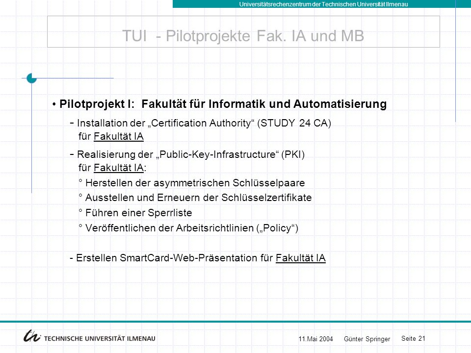 Universitätsrechenzentrum der Technischen Universität Ilmenau 11.Mai 2004Günter Springer Seite 21 TUI - Pilotprojekte Fak. IA und MB Pilotprojekt I: F
