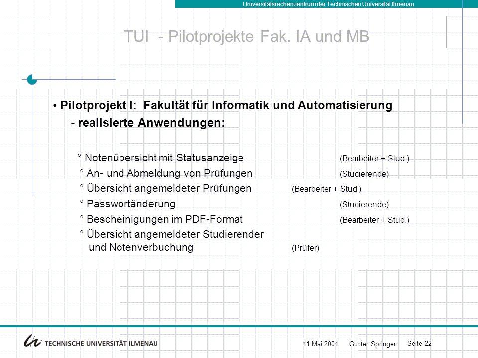 Universitätsrechenzentrum der Technischen Universität Ilmenau 11.Mai 2004Günter Springer Seite 22 TUI - Pilotprojekte Fak. IA und MB Pilotprojekt I: F