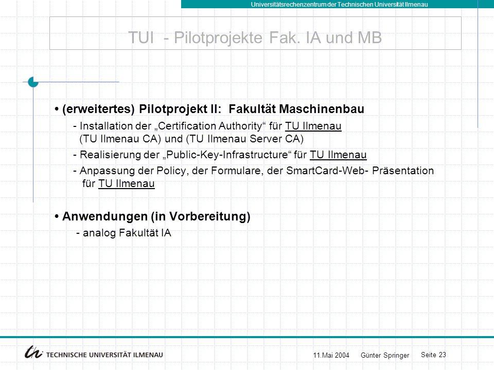 Universitätsrechenzentrum der Technischen Universität Ilmenau 11.Mai 2004Günter Springer Seite 23 TUI - Pilotprojekte Fak. IA und MB (erweitertes) Pil