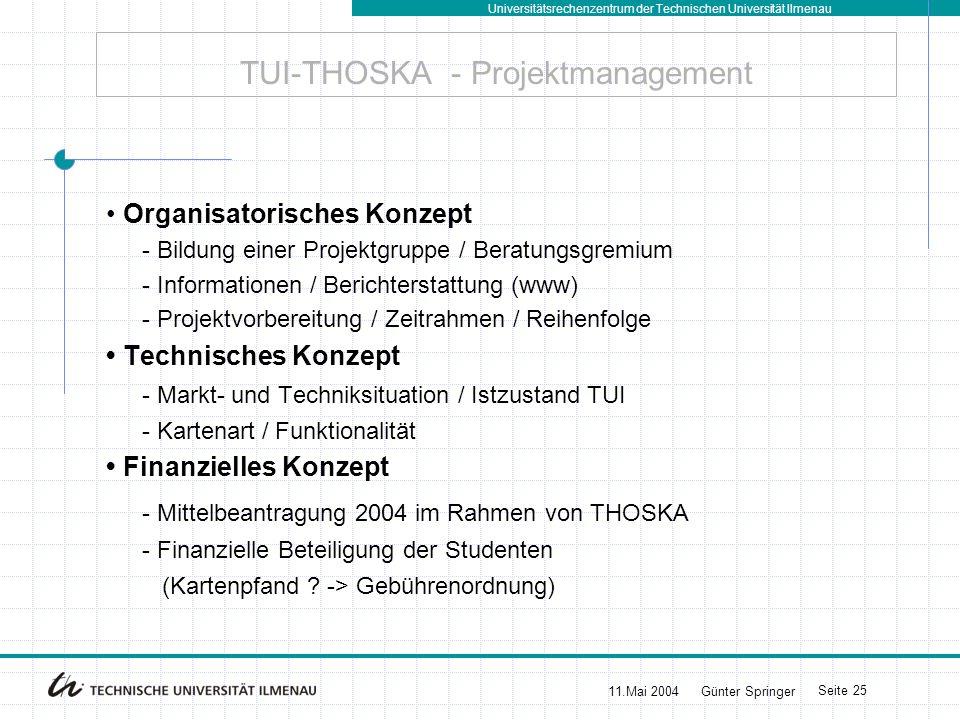 Universitätsrechenzentrum der Technischen Universität Ilmenau 11.Mai 2004Günter Springer Seite 26 TUI-THOSKA+ - Ausblick Das Wort zum Mittwoch Je planmäßiger Menschen vorgehen, desto wirksamer trifft sie der Zufall.