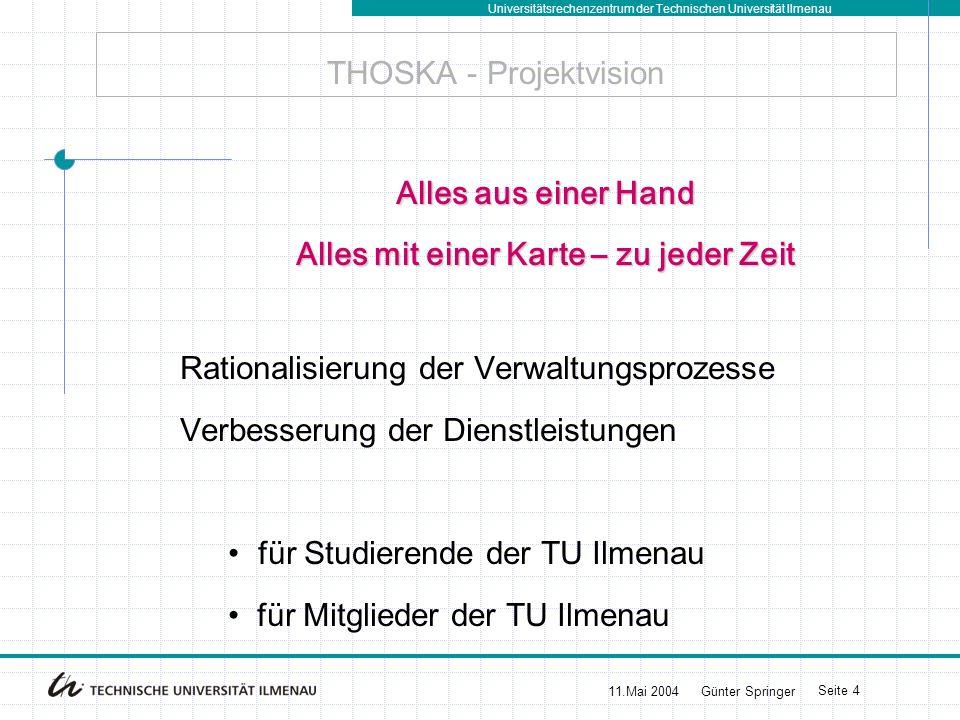 Universitätsrechenzentrum der Technischen Universität Ilmenau 11.Mai 2004Günter Springer Seite 4 THOSKA - Projektvision Alles aus einer Hand Alles mit