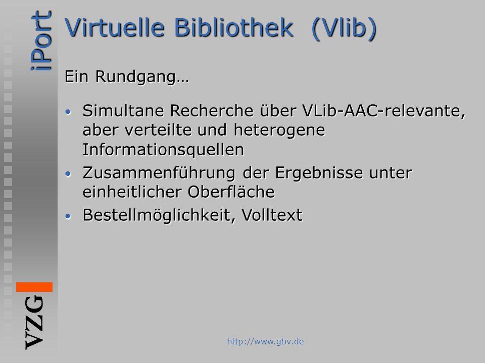 iPort VZG http://www.gbv.de Virtuelle Bibliothek (Vlib) Ein Rundgang… Simultane Recherche über VLib-AAC-relevante, aber verteilte und heterogene Infor