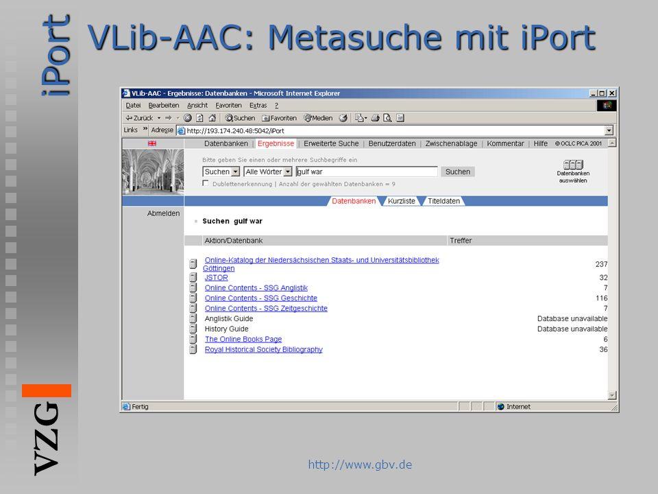 iPort VZG http://www.gbv.de VLib-AAC: Metasuche mit iPort