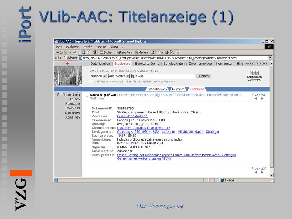 iPort VZG http://www.gbv.de VLib-AAC: Titelanzeige (1)