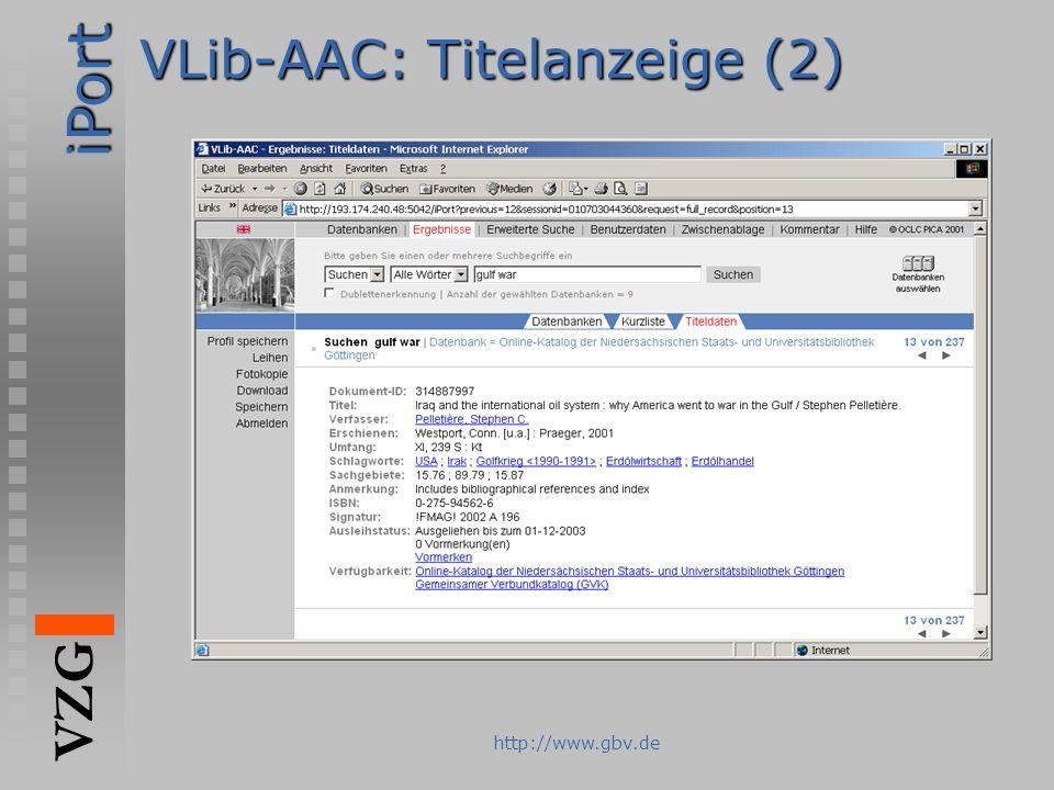 iPort VZG http://www.gbv.de VLib-AAC: Titelanzeige (2)