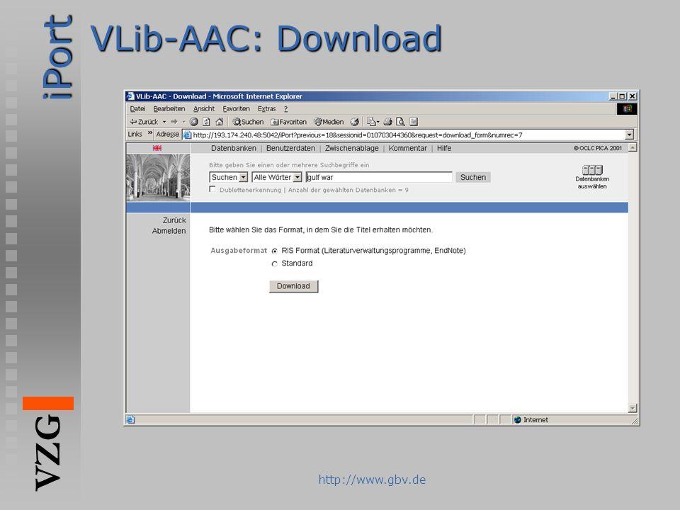 iPort VZG http://www.gbv.de VLib-AAC: Download