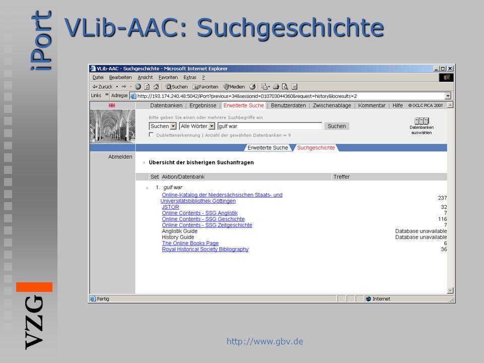 iPort VZG http://www.gbv.de VLib-AAC: Suchgeschichte