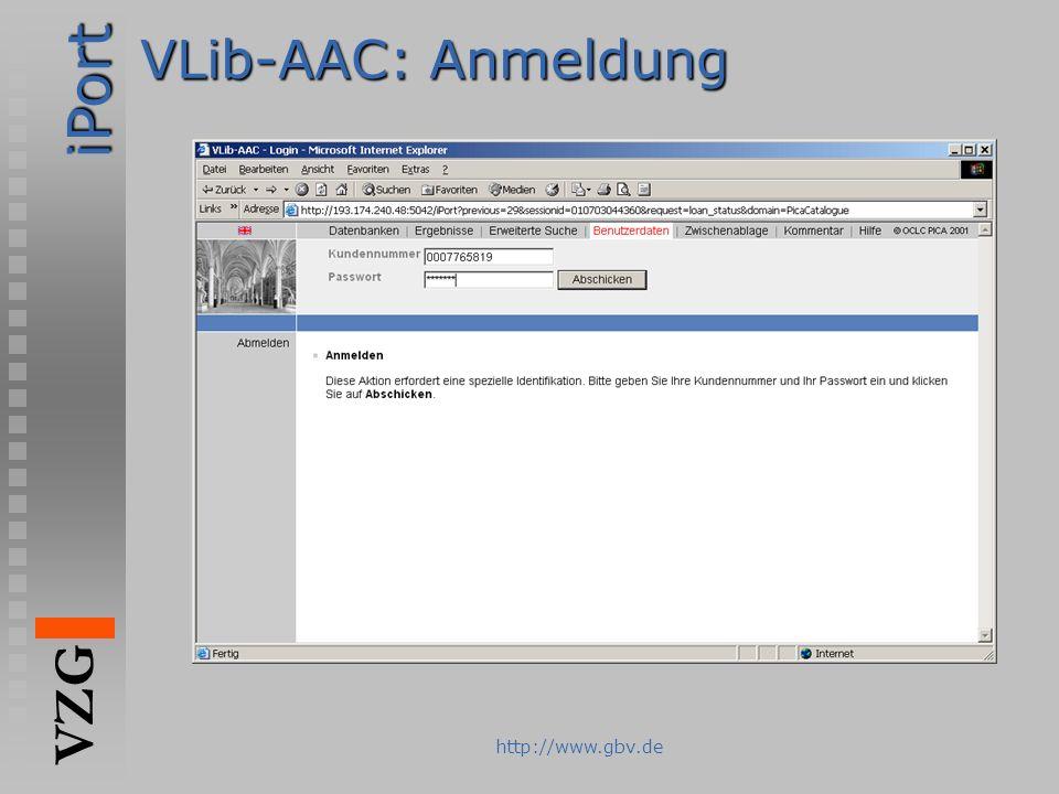 iPort VZG http://www.gbv.de VLib-AAC: Anmeldung