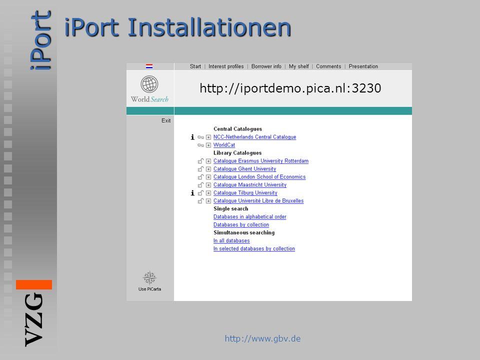 iPort VZG http://www.gbv.de iPort Installationen http://iportdemo.pica.nl:3230