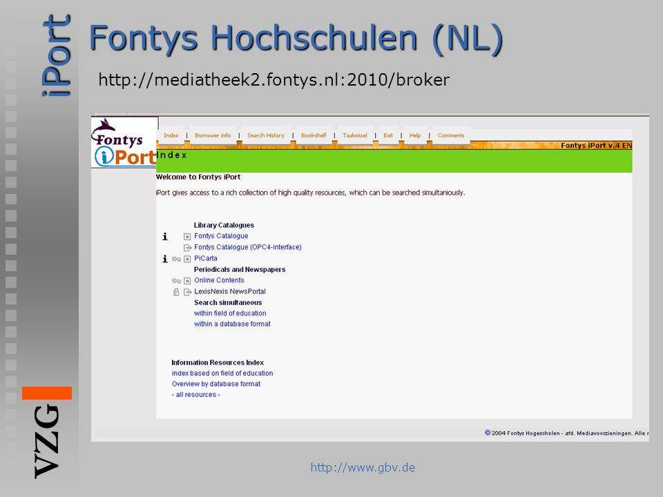 iPort VZG http://www.gbv.de Fontys Hochschulen (NL) http://mediatheek2.fontys.nl:2010/broker