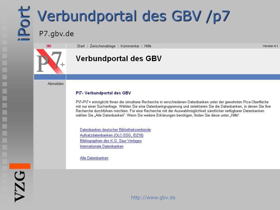 iPort VZG http://www.gbv.de Verbundportal des GBV /p7 P7.gbv.de
