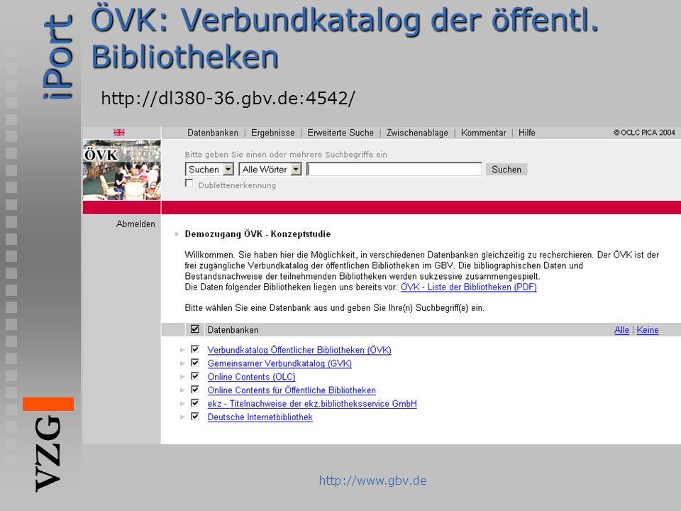 iPort VZG http://www.gbv.de ÖVK: Verbundkatalog der öffentl. Bibliotheken http://dl380-36.gbv.de:4542/