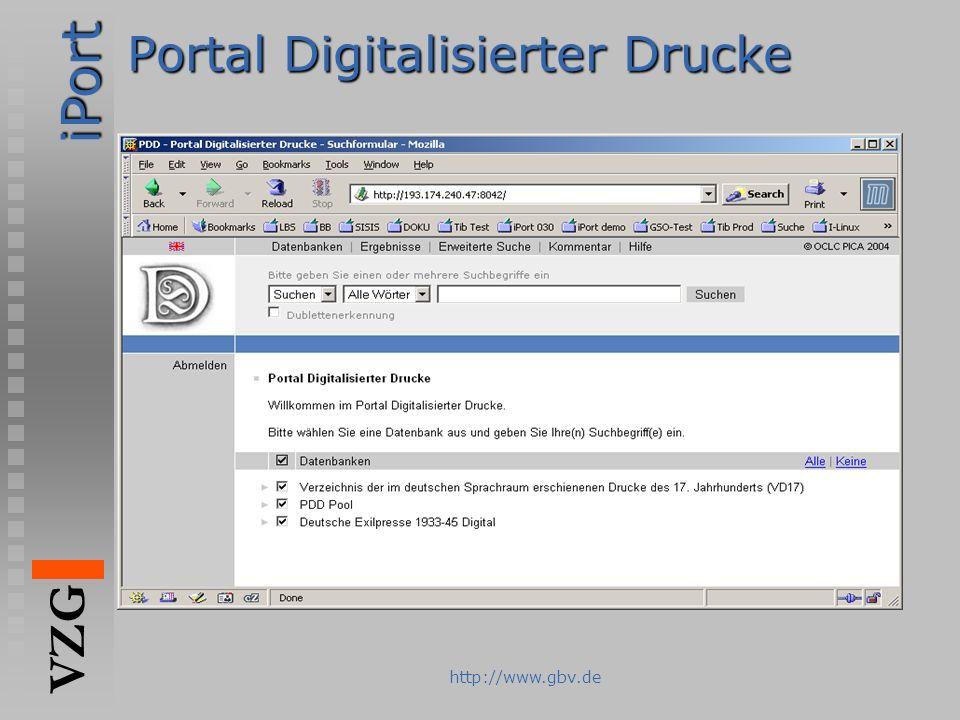 iPort VZG http://www.gbv.de Portal Digitalisierter Drucke