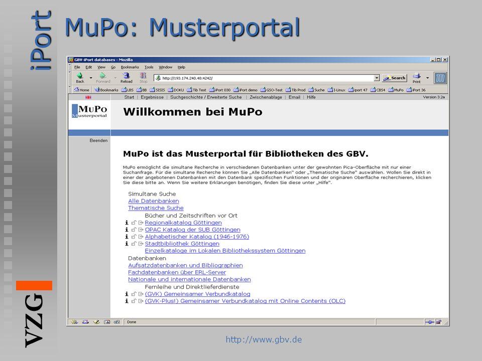 iPort VZG http://www.gbv.de MuPo: Musterportal