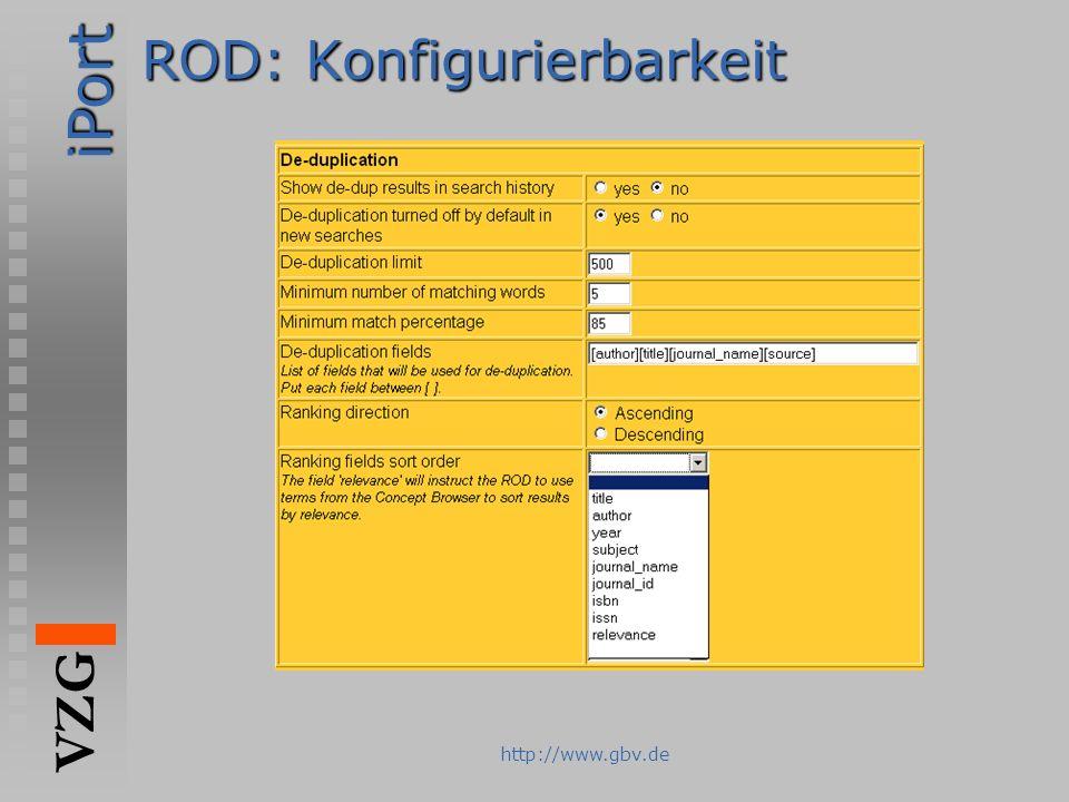 iPort VZG http://www.gbv.de ROD: Konfigurierbarkeit