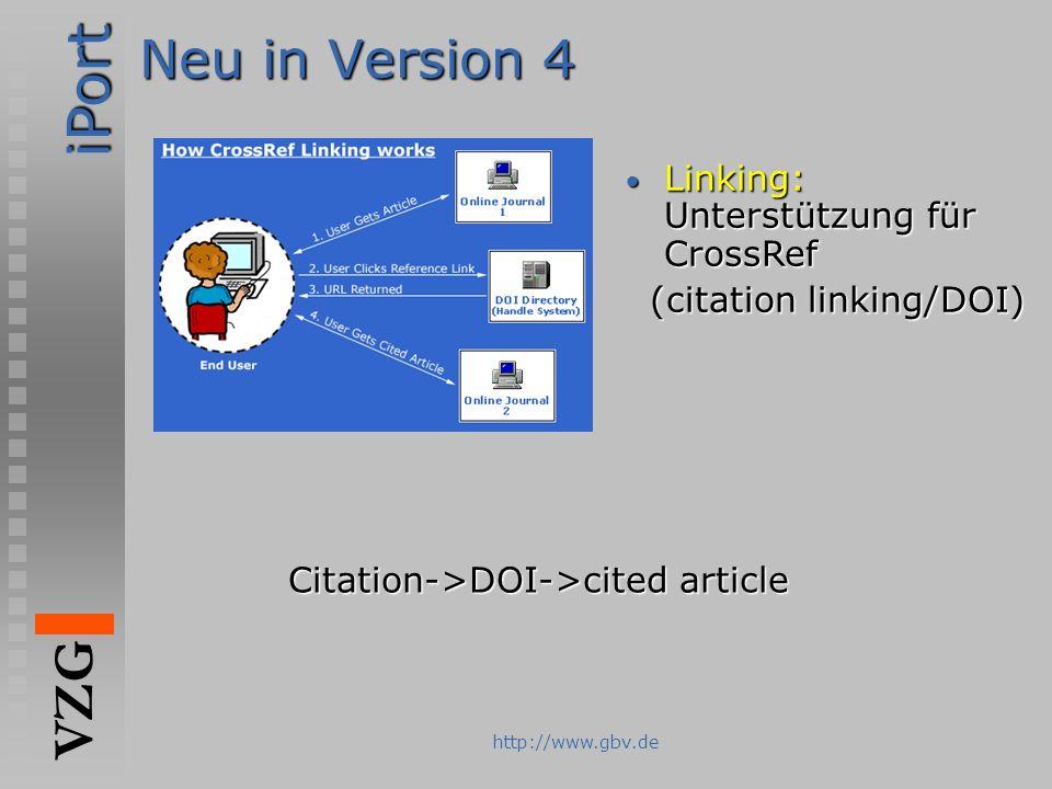 iPort VZG http://www.gbv.de Neu in Version 4 Linking: Unterstützung für CrossRef Linking: Unterstützung für CrossRef (citation linking/DOI) (citation