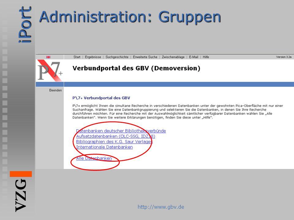 iPort VZG http://www.gbv.de Administration: Gruppen