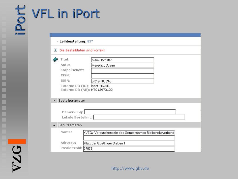 iPort VZG http://www.gbv.de VFL in iPort