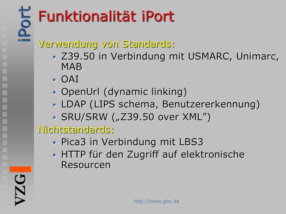 iPort VZG http://www.gbv.de Funktionalität iPort Verwendung von Standards: Z39.50 in Verbindung mit USMARC, Unimarc, MAB Z39.50 in Verbindung mit USMA