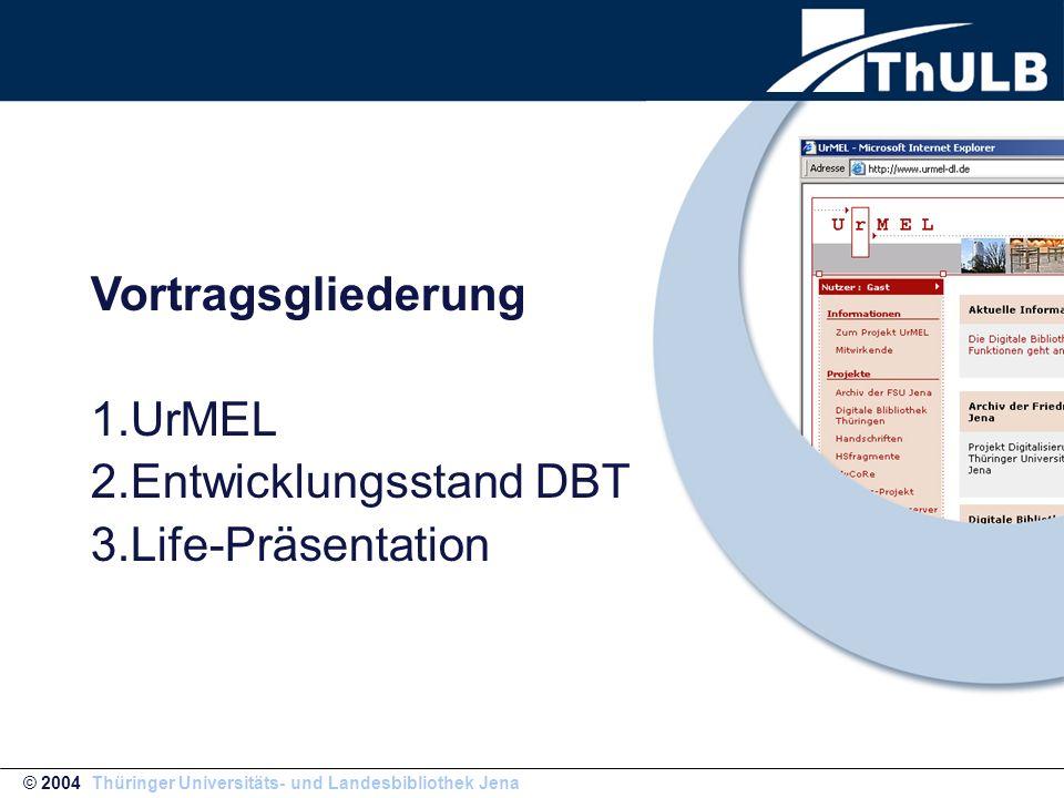DBT aktuell © 2004 Thüringer Universitäts- und Landesbibliothek Jena 1.Freischaltung neue Oberfläche am 22.03.04 2.Erste 10 Tage geringe Stabilitätspropleme durch Umstellung 3.Weitere Verbesserung des Backupsystems