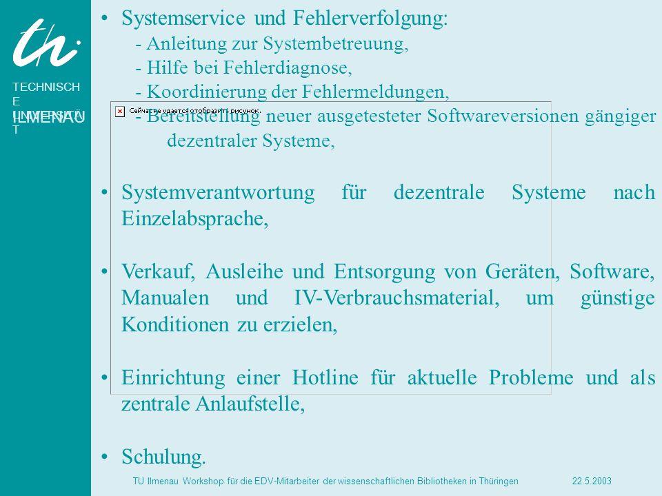 TECHNISCH E UNIVERSITÄ T ILMENAU 22.5.2003TU Ilmenau Workshop für die EDV-Mitarbeiter der wissenschaftlichen Bibliotheken in Thüringen Systemservice u