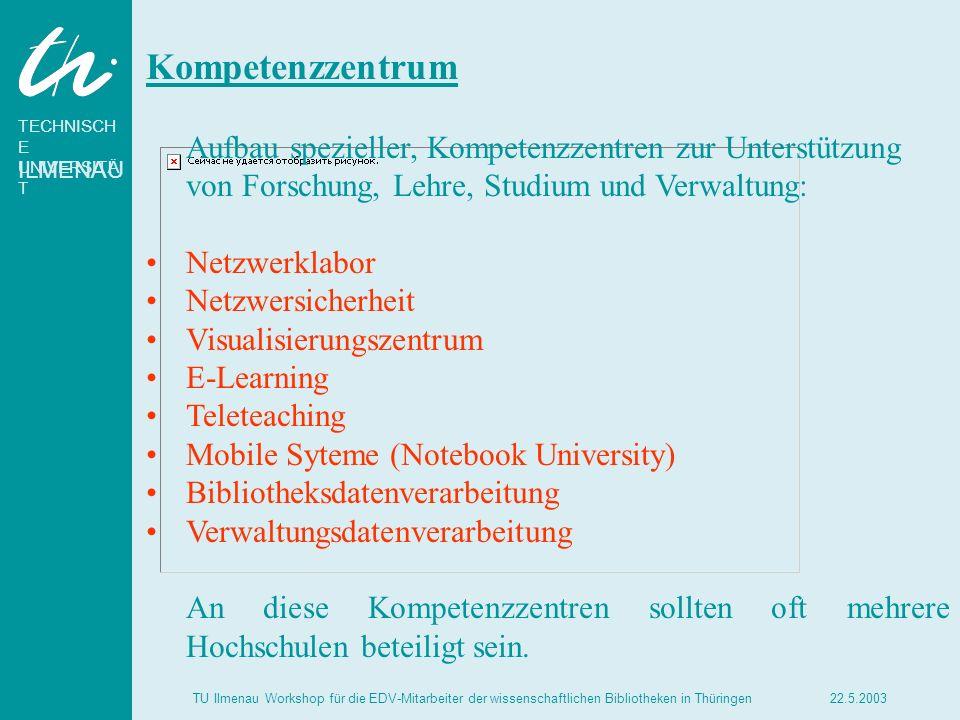 TECHNISCH E UNIVERSITÄ T ILMENAU 22.5.2003TU Ilmenau Workshop für die EDV-Mitarbeiter der wissenschaftlichen Bibliotheken in Thüringen Kompetenzzentru