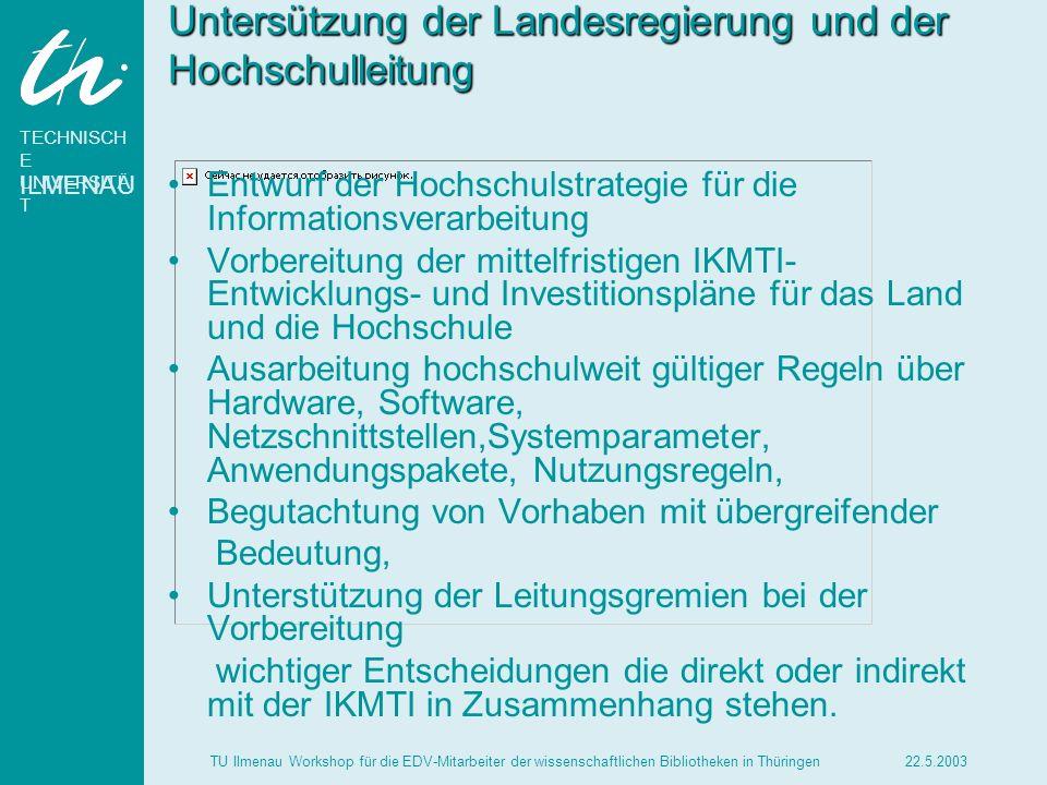 TECHNISCH E UNIVERSITÄ T ILMENAU 22.5.2003TU Ilmenau Workshop für die EDV-Mitarbeiter der wissenschaftlichen Bibliotheken in Thüringen Untersützung de