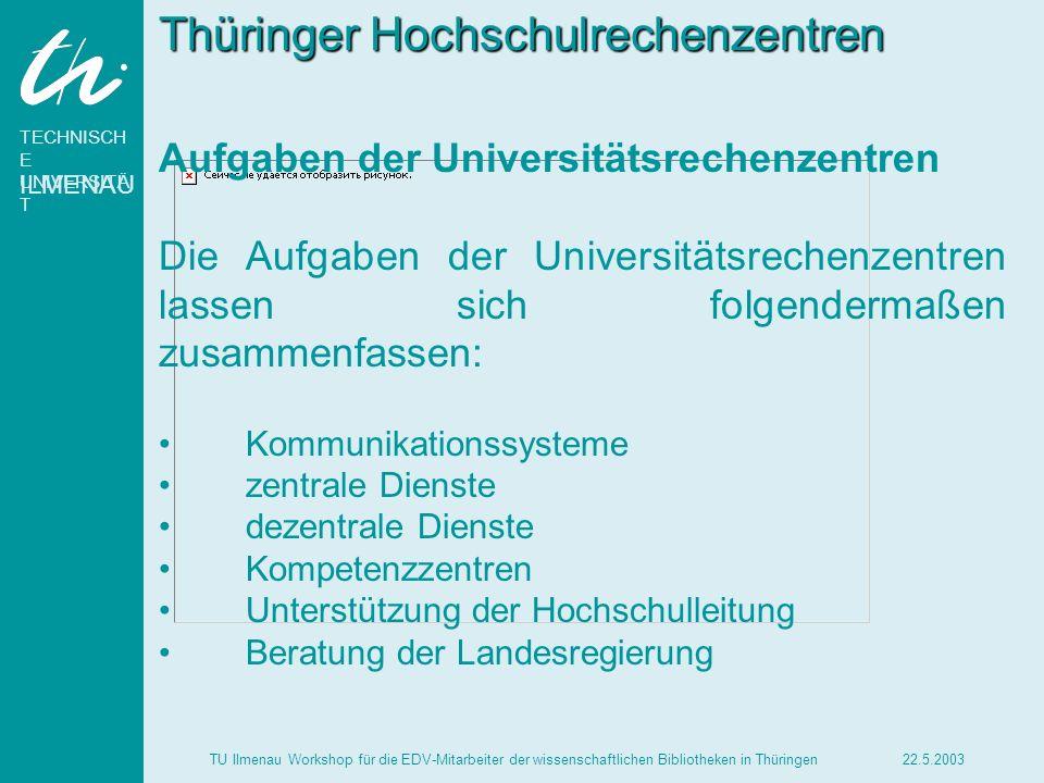 TECHNISCH E UNIVERSITÄ T ILMENAU 22.5.2003TU Ilmenau Workshop für die EDV-Mitarbeiter der wissenschaftlichen Bibliotheken in Thüringen Kommunikationssysteme Planung, Aufbau und Betrieb des Hochschulnetzes.