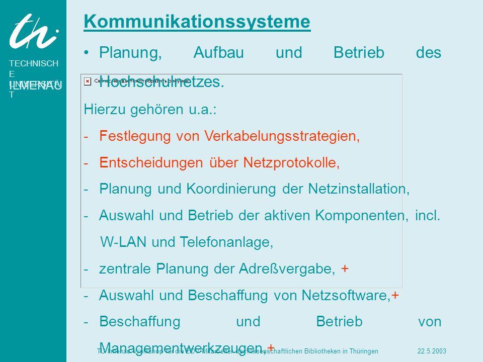 TECHNISCH E UNIVERSITÄ T ILMENAU 22.5.2003TU Ilmenau Workshop für die EDV-Mitarbeiter der wissenschaftlichen Bibliotheken in Thüringen Zentrale Ressourcen Hinsichtlich der maschinellen Dienstleistungen ist das Rechenzentrum zuständig für den Spitzenbedarf.