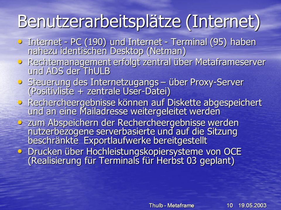 19.05.2003Thulb - Metaframe10 Benutzerarbeitsplätze (Internet) Internet - PC (190) und Internet - Terminal (95) haben nahezu identischen Desktop (Netm