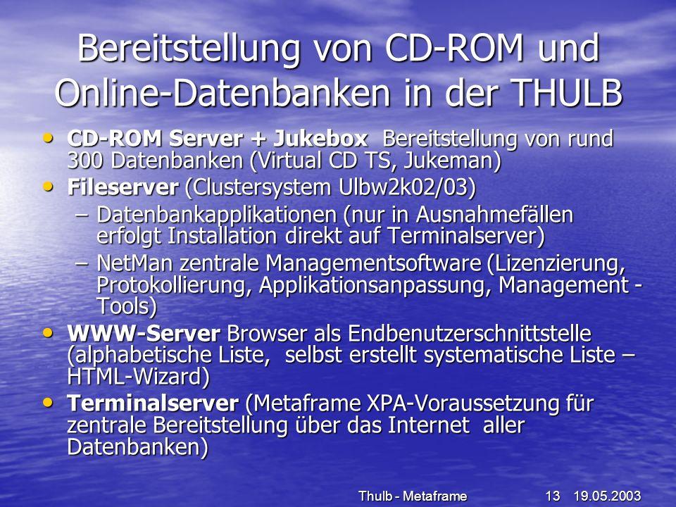 19.05.2003Thulb - Metaframe13 Bereitstellung von CD-ROM und Online-Datenbanken in der THULB CD-ROM Server + Jukebox Bereitstellung von rund 300 Datenb