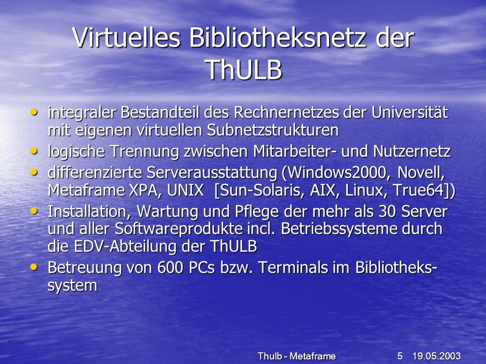 19.05.2003Thulb - Metaframe5 Virtuelles Bibliotheksnetz der ThULB integraler Bestandteil des Rechnernetzes der Universität mit eigenen virtuellen Subn