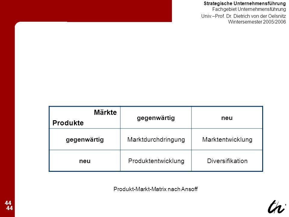 44 Strategische Unternehmensführung Fachgebiet Unternehmensführung Univ.–Prof.