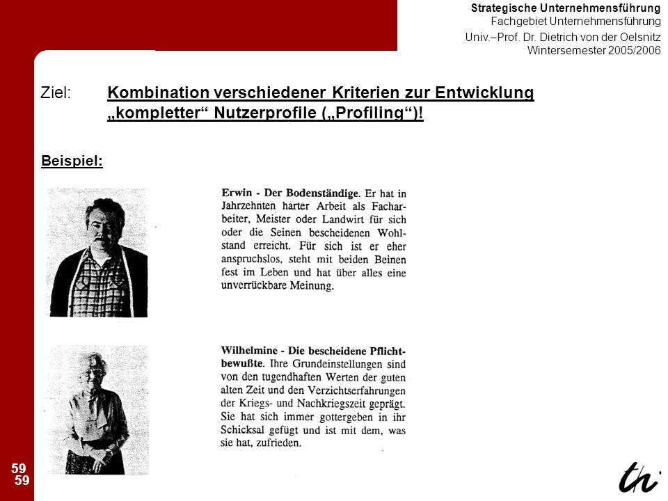 59 Strategische Unternehmensführung Fachgebiet Unternehmensführung Univ.–Prof.