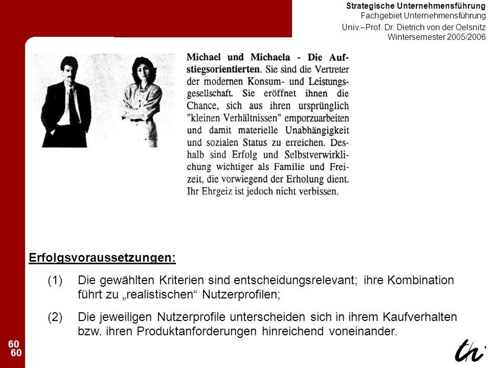 60 Strategische Unternehmensführung Fachgebiet Unternehmensführung Univ.–Prof.