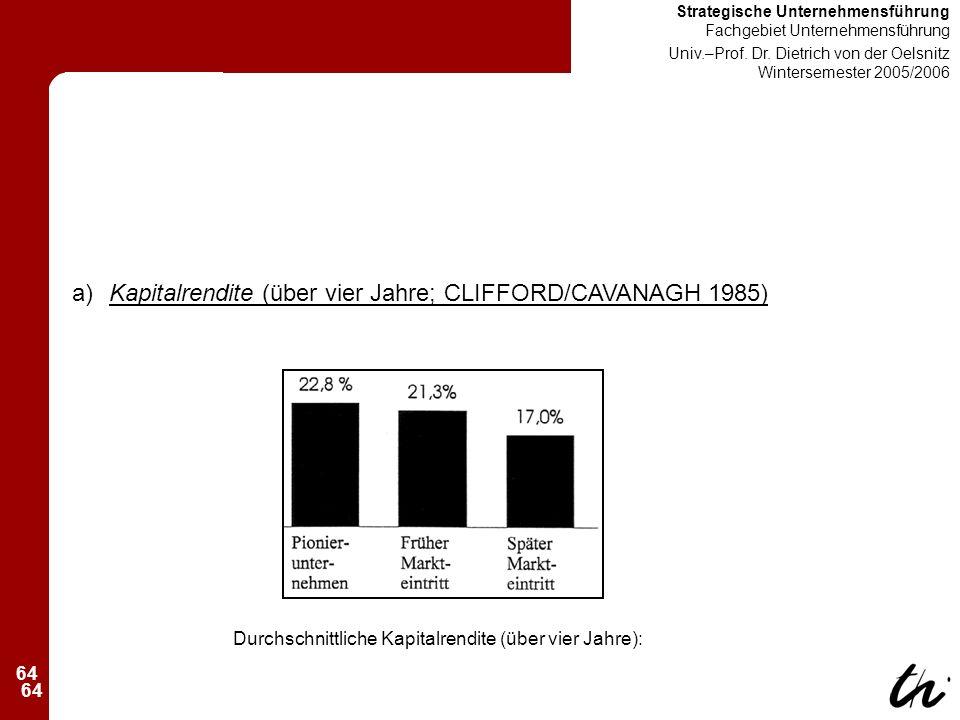 64 Strategische Unternehmensführung Fachgebiet Unternehmensführung Univ.–Prof.