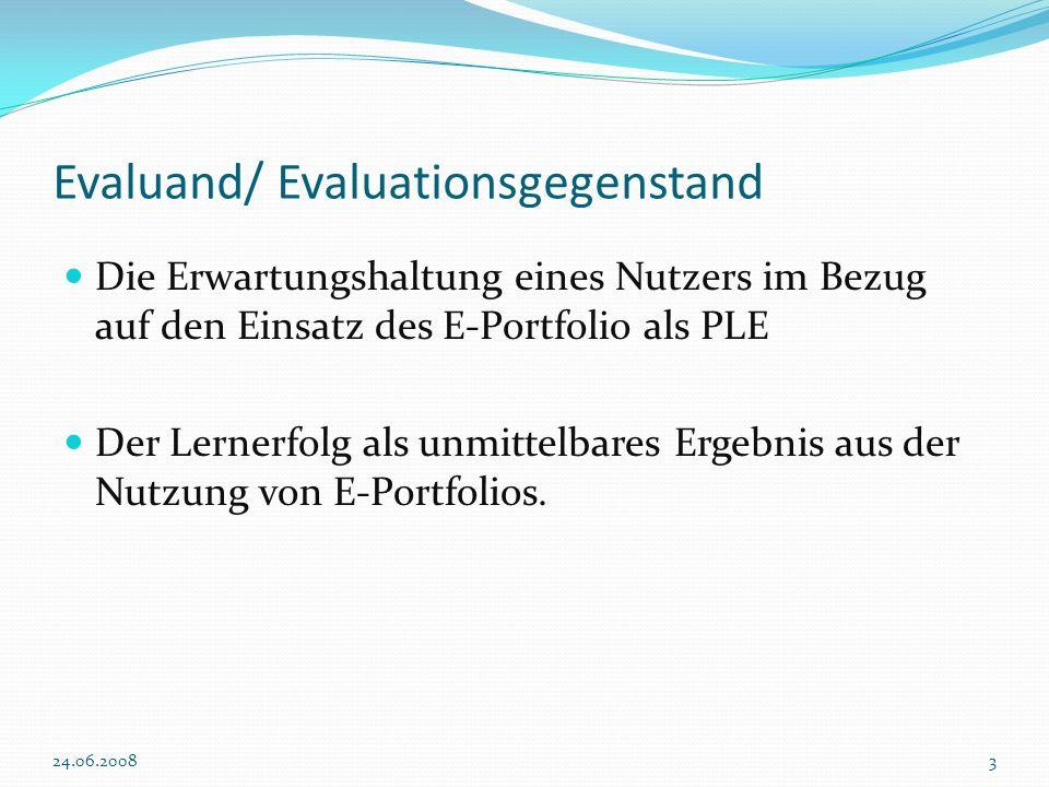 Evaluationsziel Welche Erwartungen haben Nutzer / Lerner an ein E-Portfolio und können diese bestätigt werden.