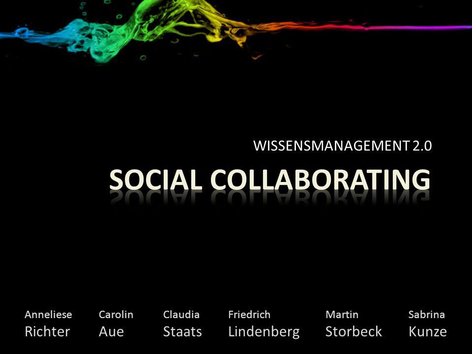 Wissensmanagement 2.0 · Social Collaborating Wiki Wiki Wer 90-9-1-Theorie: 90% schauen zu 9% tragen ab und zu etwas bei 1% liefert die Hauptarbeit Wenig hinzufügenViel hinzufügen Wenig verbessernMinimalistenHinzufüger Viel verbessernSynthesizerMultiplexer
