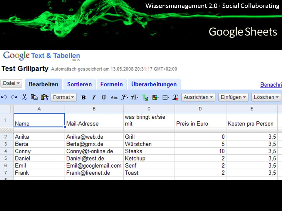 Wissensmanagement 2.0 · Social Collaborating Google Sheets
