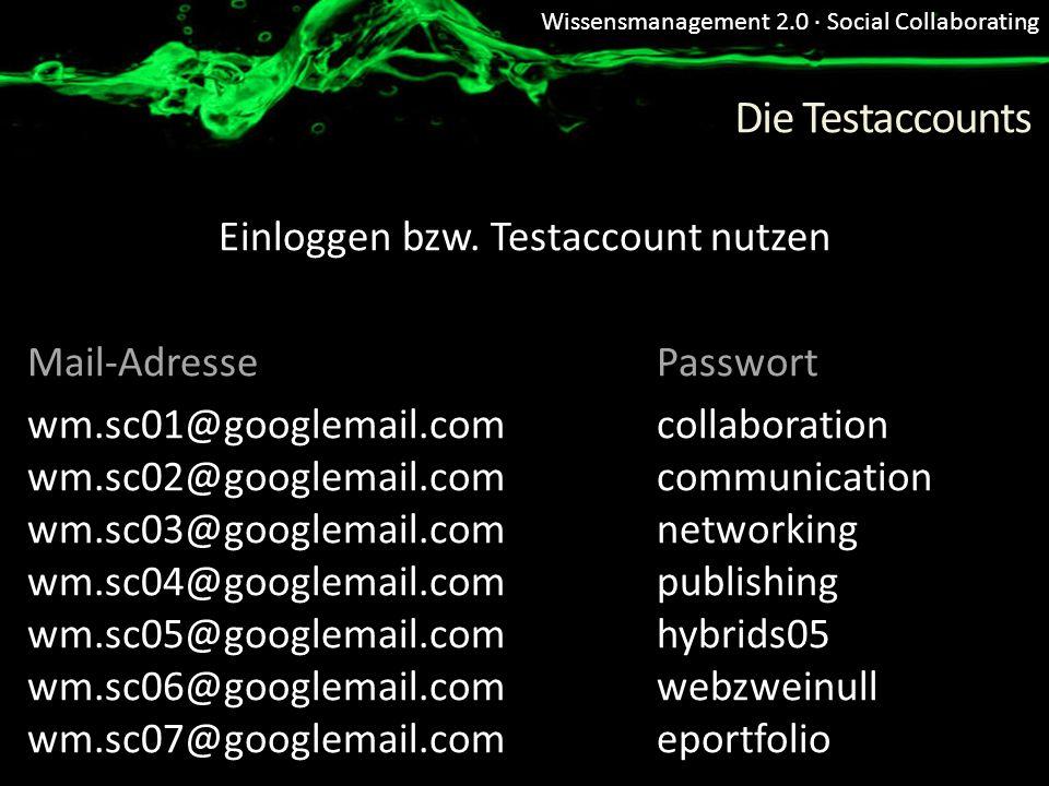 Wissensmanagement 2.0 · Social Collaborating Die Testaccounts Einloggen bzw. Testaccount nutzen Mail-Adresse Passwort wm.sc01@googlemail.com collabora