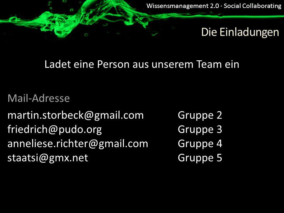 Wissensmanagement 2.0 · Social Collaborating Die Einladungen Ladet eine Person aus unserem Team ein Mail-Adresse martin.storbeck@gmail.com Gruppe 2 fr