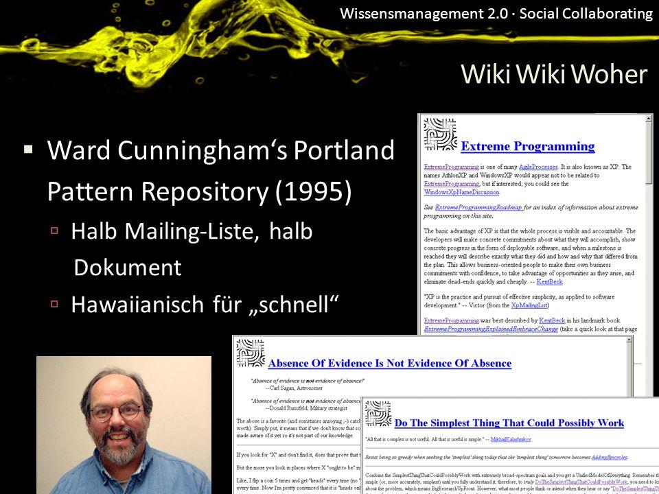 Wissensmanagement 2.0 · Social Collaborating Wiki Wiki Woher Ward Cunninghams Portland Pattern Repository (1995) Halb Mailing-Liste, halb Dokument Haw