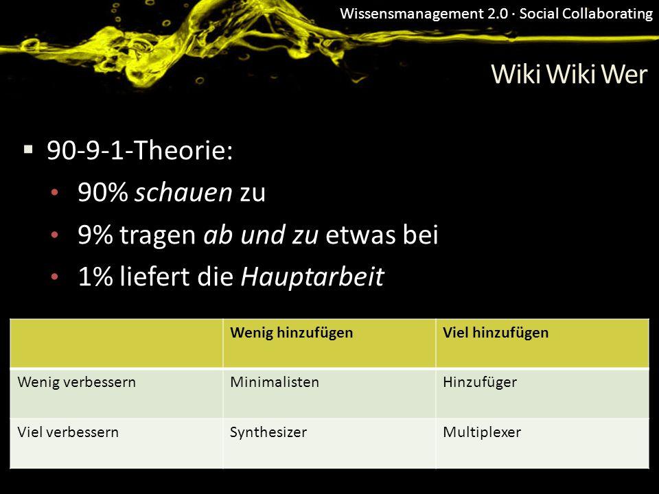 Wissensmanagement 2.0 · Social Collaborating Wiki Wiki Wer 90-9-1-Theorie: 90% schauen zu 9% tragen ab und zu etwas bei 1% liefert die Hauptarbeit Wen
