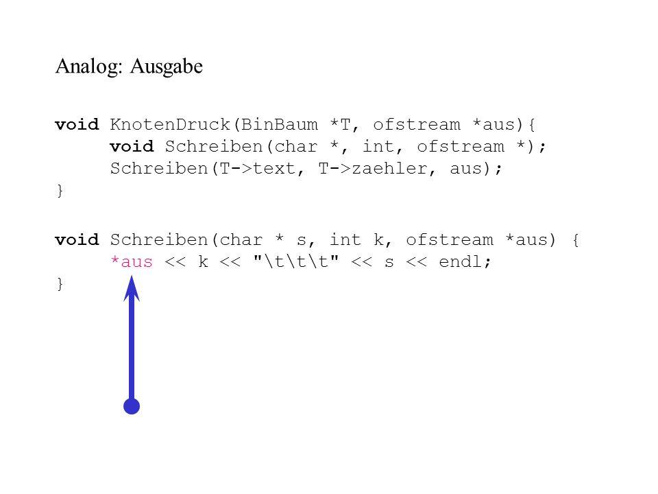BinBaum * Einlesen(ifstream *inp) { BinBaum *bst = NULL, * Einfuegen(BinBaum *, char *); char gelesen[maxLen]; *inp >> gelesen; while (!(*inp).eof()) { bst = Einfuegen(bst, gelesen); *inp >> gelesen; } return bst; } Feinheiten: *inp und (*inp).eof()
