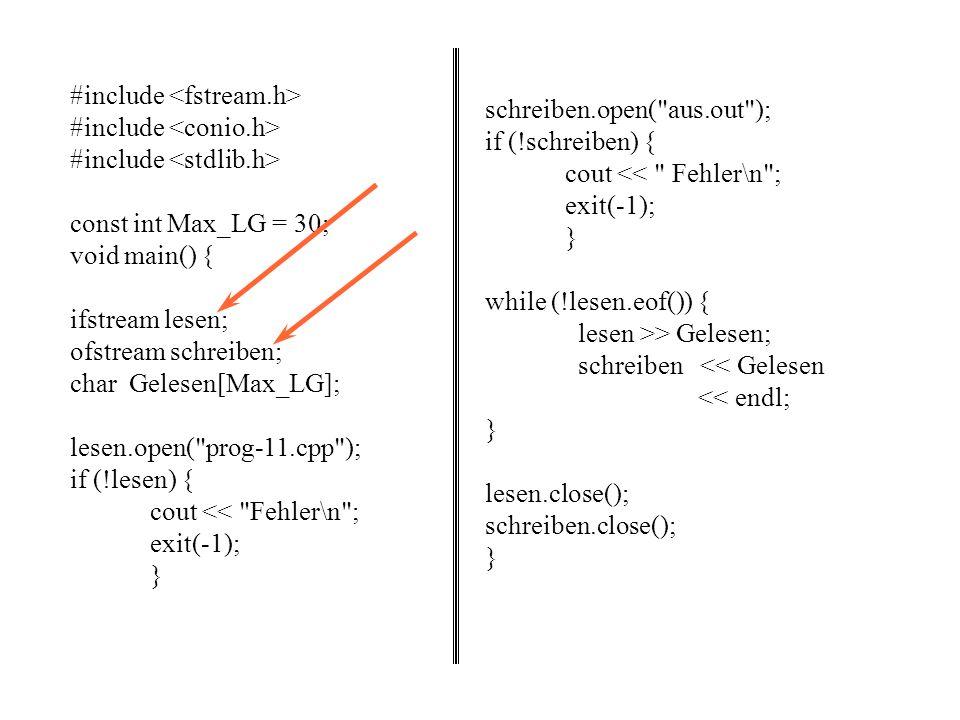 Planung einfache Dateibehandlung (externe Dateien, Öffnen, Lesen/Schreiben, Schließen). Diskussion des Problems, die Wörter in einem gegebenen Text zu