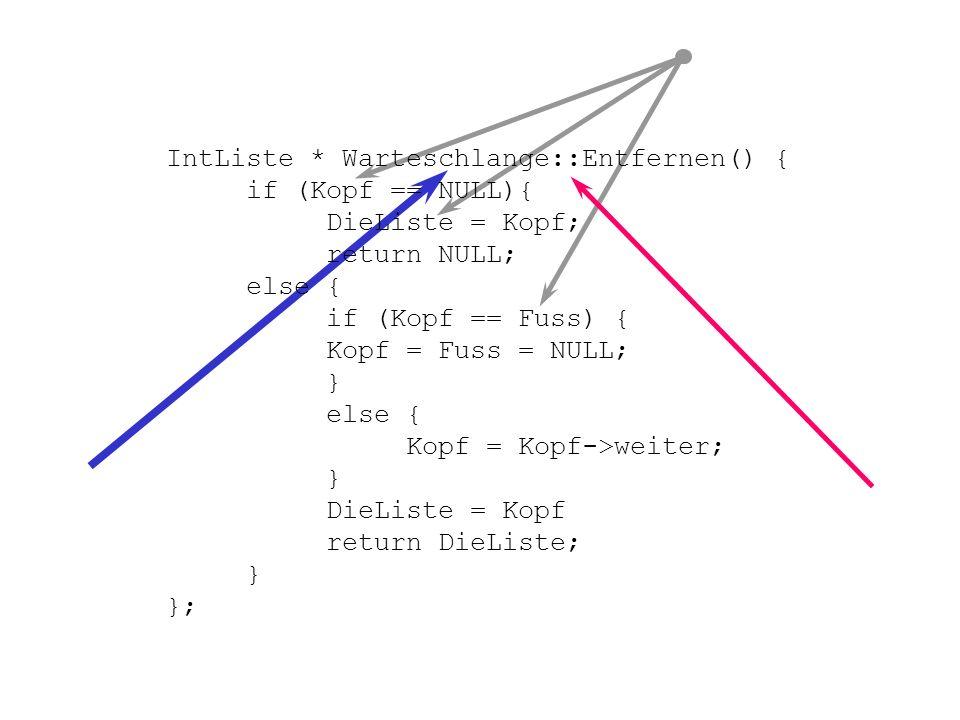 Weitere Beispiele int Warteschlange::DerKopf() { return (DieListe == NULL ? -1 : DieListe->Element); }; Konvention void Warteschlange::ListenDruck(ofs