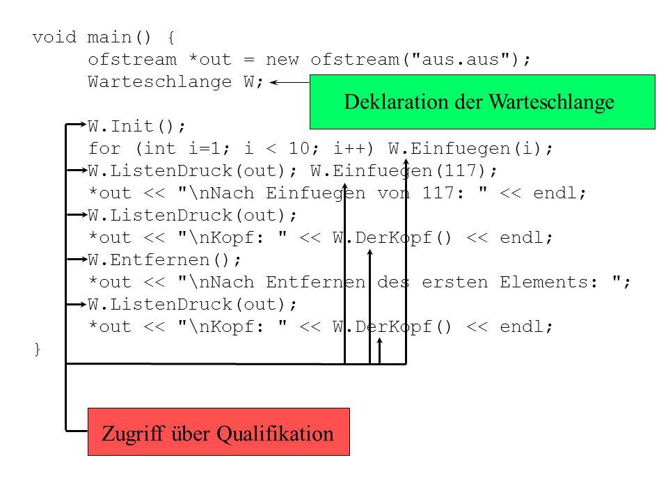 IntListe * Warteschlange::Einfuegen(int i) { IntListe *K = new IntListe; K->Element = i; K->weiter = NULL; if (DieListe == NULL){ Kopf = K; Kopf->weit