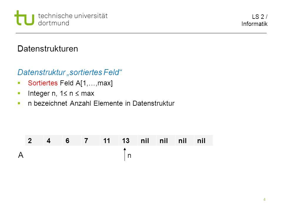 LS 2 / Informatik 175 Fall (c) Zu löschendes Element z hat 2 Kinder Schritt 1: Bestimme Nachfolger von z Datenstrukturen 6 4 3 7 5 9