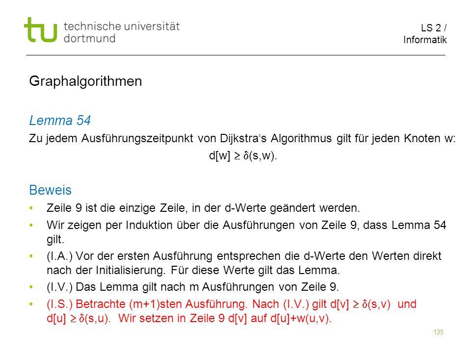 LS 2 / Informatik 135 Lemma 54 Zu jedem Ausführungszeitpunkt von Dijkstras Algorithmus gilt für jeden Knoten w: d[w] (s,w). Beweis Zeile 9 ist die ein